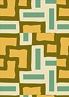 igsticker ポスター ウォールステッカー シール式ステッカー 飾り 841×1189㎜ A0 写真 フォト 壁 インテリア おしゃれ 剥がせる wall sticker poster 004184 チェック・ボーダー 模様 オレンジ 緑