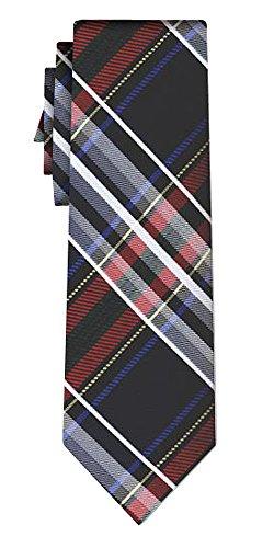 Cravate soie tartan pattern navy silver red