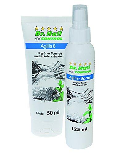 Agilis Spray, 125 ml & Agilis 6, 50 ml mit 100% natürlichen Wirkstoffen, grüner Tonerde, Schachtelhalm, Teufelskralle, Cajeput, Rosmarin