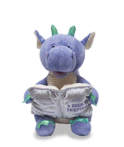 Cuddle Barn   Dalton the Storytelling Dragon 12 Animated Stuffed Animal Plush Toy   Mouth Moves, Head Sways and Book Lights Up   Recites 5 Fairy-Tales
