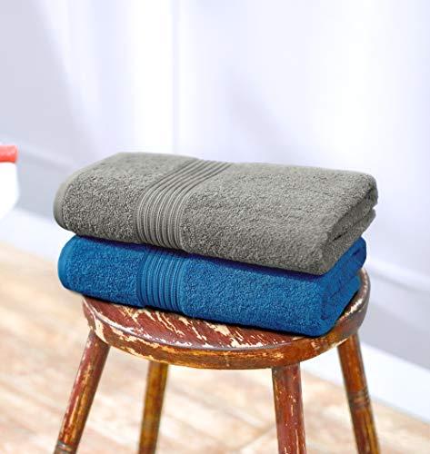 Swiss Republic Signature 2 Piece 630 GSM Cotton Blend Bath Towel Set - Federal Blue and Frost Gray