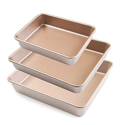 QIUSHUO In Size 8' 11' 12' 3PCS Nonstick Champagne Colden Rectangle Carbon Steel Baking Pans Set For Oven Bakeware Baking Tray (DEEP)
