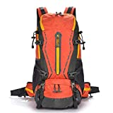 AEBDF Rucksack 50LWasserdichter Wanderrucksack - Outdoor Sport Daypack mit Regenschutz zum Klettern Bergsteigen Camping Angeln Reisen Radfahren Skifahren (Color : Orange)