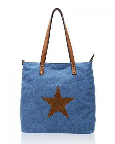 LeahWard® Groß Schule Taschen Damen Segeltuch Schultertasche Handtasche A4 160163 160164 (160164-Diver)