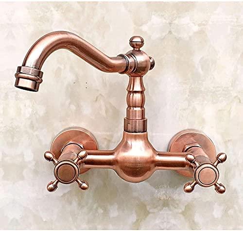 Latón de cobre antiguo montado en la pared doble manija cruzada fregadero de cocina grifo del lavabo del baño grifo mezclador caño giratorio