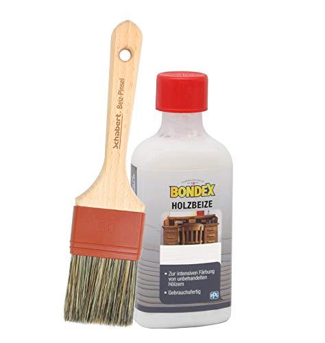 Bondex Holzbeize inkl. Beizpinsel, Wasserbeize in 20 Farbtönen zur Auswahl (250 ml, weiss)