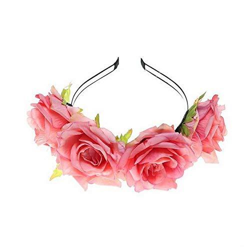 Yazilind Tuch Big Rose Blume Weihnachten Haarschmuck Fotostudio Retro Stirnband Zubehör Pink