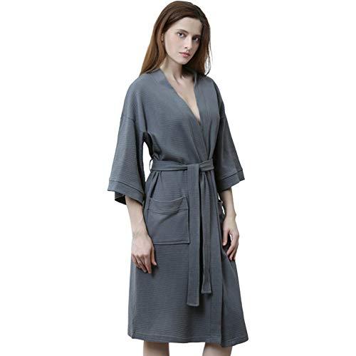 DHL Womens Waffelpique Bademantel, Premium Baumwolle Kimono Bademantel Hotel Spa...