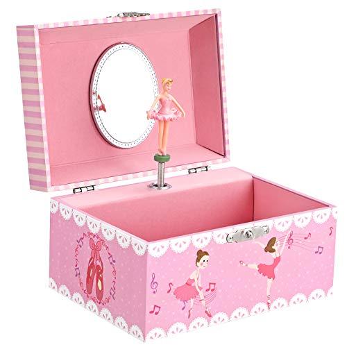 SONGMICS Caja Joyero Musical para Niños, Caja de Música, con Bailarina, Compartimento Espacioso, Espejo, Melodía del Lago de los Cisnes, Idea de Regalo, Rosa JMC019PK