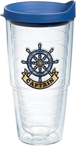 Tervis Captain Wheel Tumbler with Emblem and Blue Lid 24oz, Clear