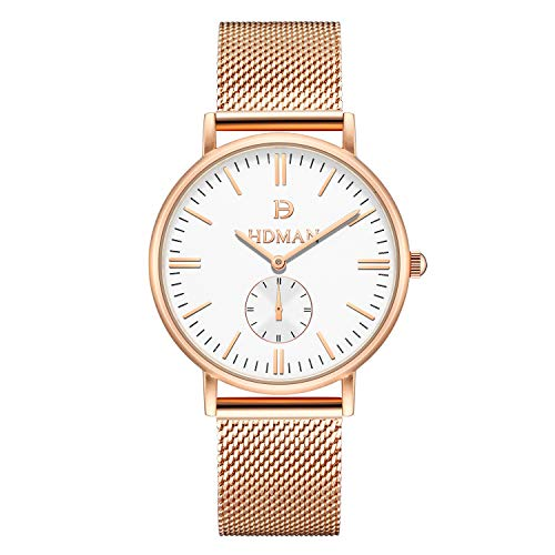 AIKURIO Reloj de mujer de cuarzo, estilo sencillo, resistente al agua 3 ATM, correa de metal HT0029
