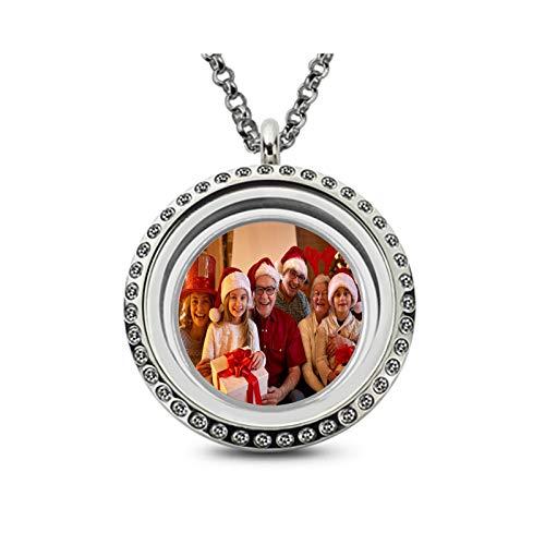 Collar personalizado con foto Collar personalizado con imagen Collar con placa de identificación Collar con colgante redondo(Plata 16)