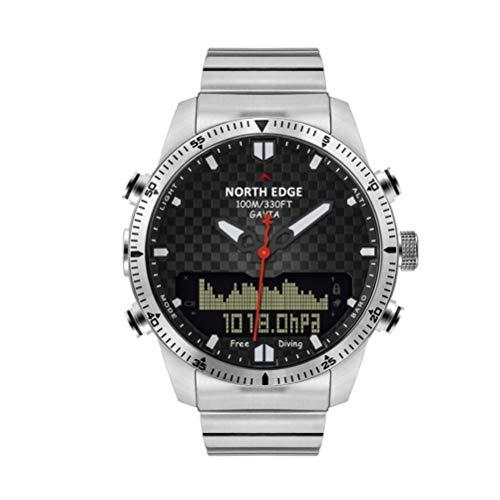 Smart Heren Horloge 5atm Waterdichte Hoogte Drukdiepte Multifunctionele Meter Dubbele Display Duiken Staal Horloge Geschikt, Zilver