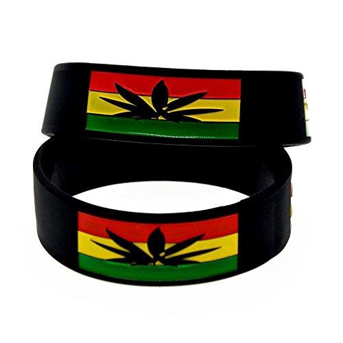 North King Silikon Armband Jamaika Blatt 1-Zoll-Fill Handgelenk Band Hip-Hop-Mode Armband Set 2 Stück kreative Geschenk