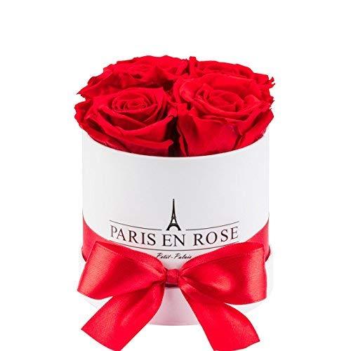 PARIS EN ROSE Rosenbox Petit-Palais Classic | 3 Jahre haltbar | Weiße Rosenbox mit roten Infinity Rosen | Flowerbox mit 4 konservierten Blumen