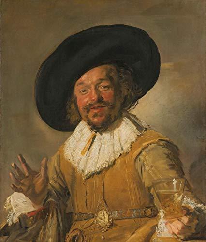 Frans hals, De vrolijke drinker 80x100cm, Rijksmuseum, premium print, print op canvas, oude meester - Muurdecoratie