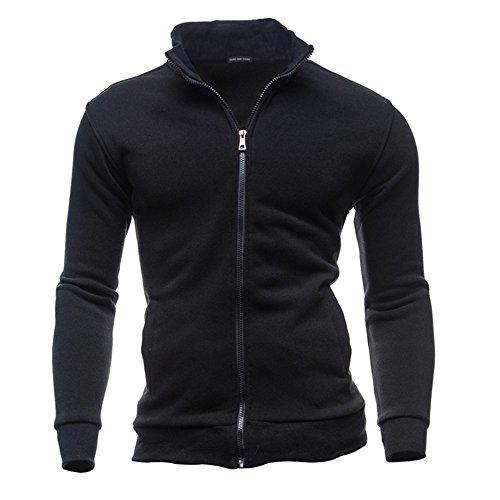 Cebbay Hauts Veste Homme Sweatshirt,Trench Coat Mode Pullover Manteaux Loisirs Sports Cardigan Zipper Jacket,Hiver Outwear Chaud Tee Shirt Pull Sweat Top Blouse (Noir,EU-44/CN-L)