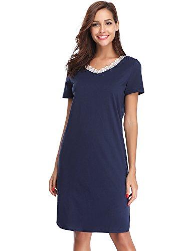 Hawiton Damen Nachthemd Kurz Baumwolle Spitze Nachtwäsche Nachtkleid Negligee Sleepshirt Kurzarm für Sommer Blau M