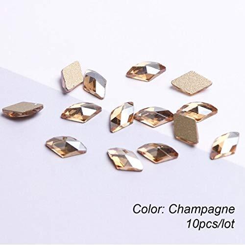 Meiyy 10 stuks nail art-set kristallen strass 3d ruitenbol stenen goud strass manicure voor nageldecoratie Champagne