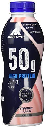 Multipower High Protein Shake Strawberry – fett- und kalorienarmer Fitness Shake für den Muskelaufbau – Eiweißshake mit Erdbeer-Geschmack – 12 x 500 ml