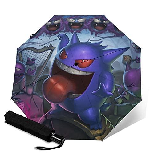 Gengar Paraguas automático portátil de tres pliegues, cortavientos, impermeable, anti-UV, apertura automática, compacto y portátil plegable