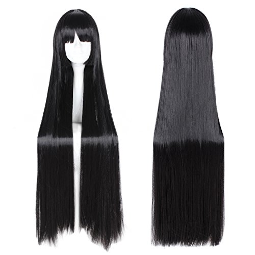 Black Long Straight Wig Lolita Anime Cosplay Halloween Daily Party Women Hair with Bangs Fringe Hairstyles 39.37'