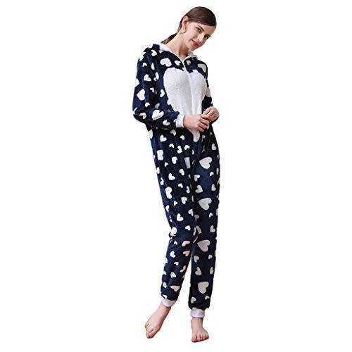FRAUIT Sweet Jumpsuit dames hartvormige hoed oren met capuchon flanel lange mouwen trainingspak dames fleece onesie met manchetten overall, eendelig, Homewear Siamesisch pyjama