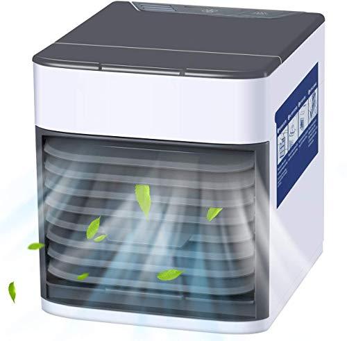 azorex Mini Enfriador Portátil USB Aire Acondicionado Climatizador con 3 en 1 Ventilador Purificador Humidificador Ajustable para Oficina Dormitorio