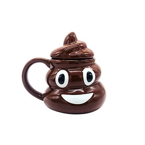 Dongxiao Bierkrug Bier Becher Poop Emoji Keramik Becher Premium Kaffeetassen für Bierkaffee Getränk 380ml / 13 oz (Color : Brown)