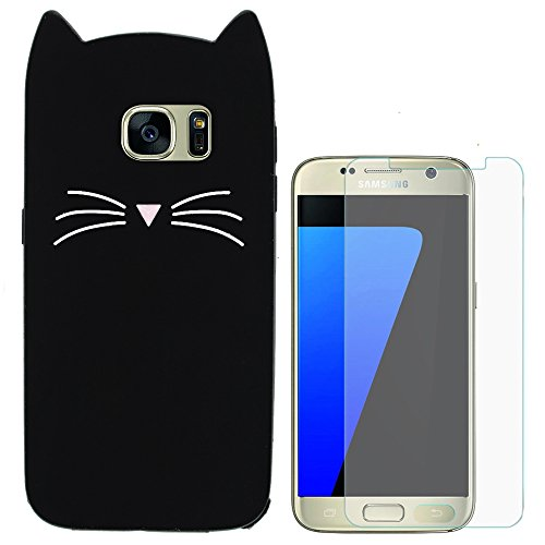 Hcheg 3D Silicone Protective Case Cover for Samsung Galaxy S7 EDGE Cover cat Design black Case Cover + 1X Screen Protector