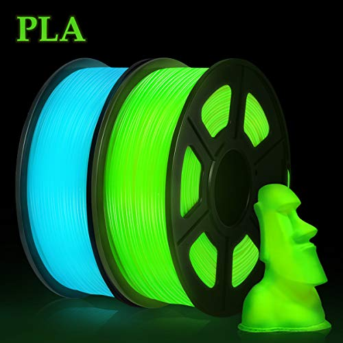 PLA 3D Printer Filament, Luminous PLA Filament Glow in Dark PLA Filament 1.75mm 2KG, PLA Luminous Green Blue
