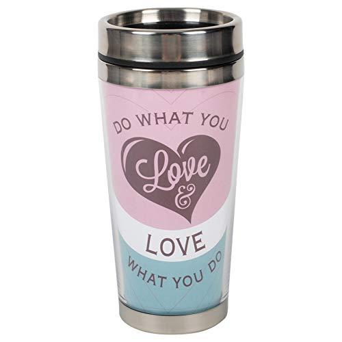 Taza de viaje de acero inoxidable con tapa para hacer lo que amas con lo que haces, color morado