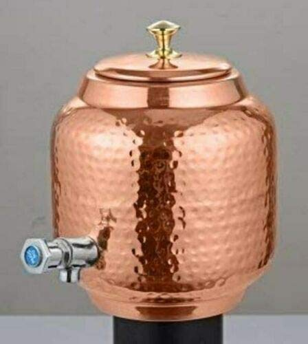 Spacetouch Dispensador de agua de cobre puro martillado con grifo Matka, jarra de cobre de 5 litros, jarra de cobre con grifo