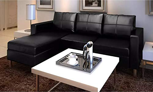 AEVOBAS VidaXL rinconera con función de Dormir, Esquina sofá con 6Cojines, Elegante sofá, sofá sofá, Cama, sofá, Dormir restará Long Chair de Piel sintética, Color Negro