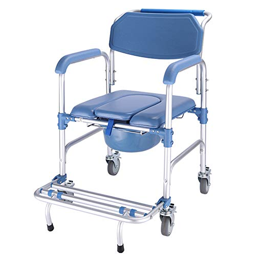SAD Fahrbarer Toilettenstuhl Nachtstuhl und sicheren Toilettenrahmen Nachtstuhl mit Rollen Rückenlehneund antirutschenden WC-Stuhl