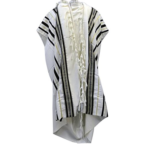 Black & Gold 100% Wool Kosher Tallit Prayer Shawl Made by Mishcan Hathelet (size 50 - (47 inches x 67 inches))