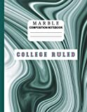 Marble Composition Notebook College Ruled: Note Taking Journal for Back to School, College, Work, Home; Suited for Daily Writing for Children, Students & Teachers; Modern Marbled Green and White Cover