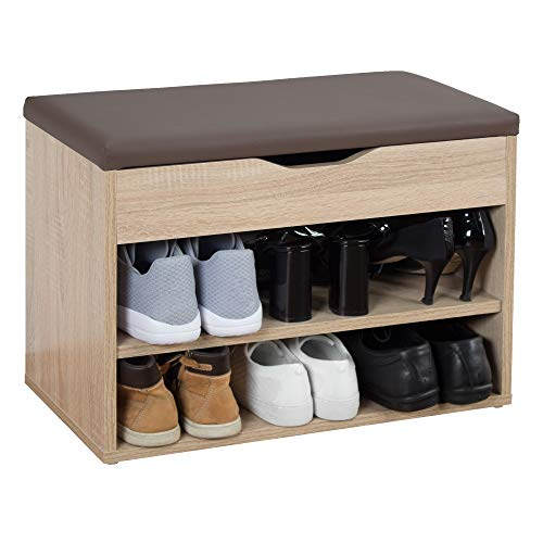 RICOO WM032-ES-B Banco Zapatero 60x42x30cm Armario Interior con Asiento Organizador Zapatos Mueble recibidor Perchero Madera Roble marrón