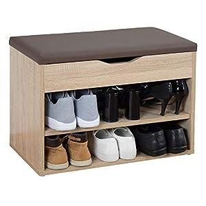 RICOO WM032-ES-B, Banco Zapatero, 60x42x30cm, Armario Interior con Asiento, Organizador Zapatos, Mueble recibidor, Perchero, Madera Roble marrón