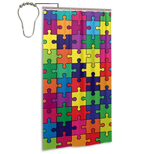 Colorful Shiny Puzzle Hobby Activity 36 X 72 Forro de cortina de ducha con 12 ganchos Cortinas de ducha para baño Cortina de ducha impermeable lavable a máquina Juego para el hogar Spa Hotel Baño 36x