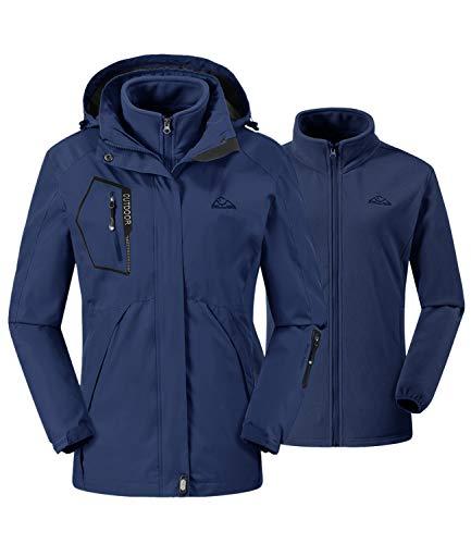 donhobo Damen 3-in-1 Skijacke mit Fleecejacke wasserdichte Regenjacke Outdoorjacke mit Kapuze Abnehmbare Funktionsjacke Warm Winterjacke Doppeljacke Blau M