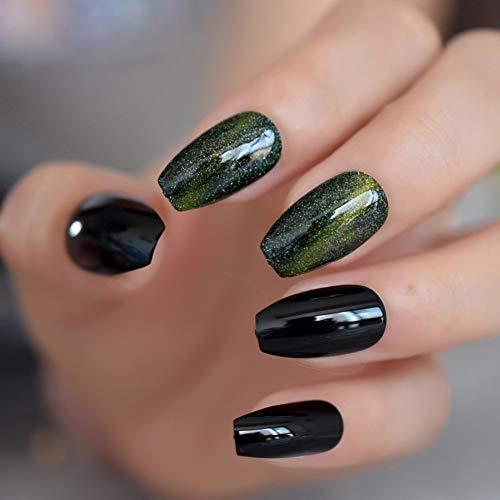 QSDFG Pointes de Gel Miroir Noir Pierres de Strass dorées Appuyez sur Les Ongles en Alliage personnalisé Bowknot Décoration Nail 24