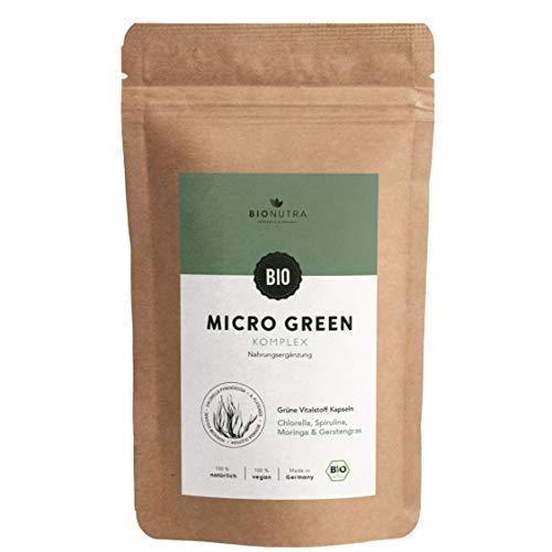 BioNutra® Micro Green: Chlorella Spirulina Gerstengras Moringa Kapseln Bio (240 x 600 mg), hochdosiert, Großpackung, deutsche Herstellung, vegan, 100% biologische Rohstoffe, Einführungsangebot
