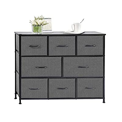 charaHOME Fabric Storage Organizer Clothes Drawer Dresser with 8 Drawers, Dresser Storage Tower for Bedroom, Hallway, Entryway, Closets, Heavy Duty Steel Construction, Wood Top - 【Multifunction and Stylish Storage Dressers】---This chest of drawers help you sort items by type, can be used in multiple rooms throughout the home. Great for closets, bedrooms, living room, nurseries, playrooms, entryways for instant storage, keeping all of your clothing and accessories organized. We designed our furniture pieces to provide you with useful storage solutions to organize your space and offer you value, style and quality. Stylish charcoal gray color coordinates with most décor. 【Quality Construction】---Strong steel frame and durable MDF wood top with smooth finish offering reliable strength and stability, it is built to last for years to come. Adjustable feet for uneven ground, increase stability and protect the floor from scratches. Water-resistant, extra large wood top provides a safe place for putting cups, glass, plants, clocks etc. 【Removable and Foldable Drawers】---This storage unit features 8 removable foldable drawers. Storage drawer is made of breathable non-woven fabric and MDF board inserted, features firm, comfortable, waterproof and mildewproof. Wooden pull handles make opening and closing simple. The storage drawer can be folded when not in use. You can place the narrow dresser in the closet, under the bed or corner. Easy to wipe and clean up with damp cloth which will save time in maintenance. - dressers-bedroom-furniture, bedroom-furniture, bedroom - 419JGcELt0L. SS400  -