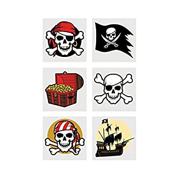 Fun Express - Pirate Tattoos - Apparel Accessories - Temporary Tattoos - Regular Tattoos - 72 Pieces