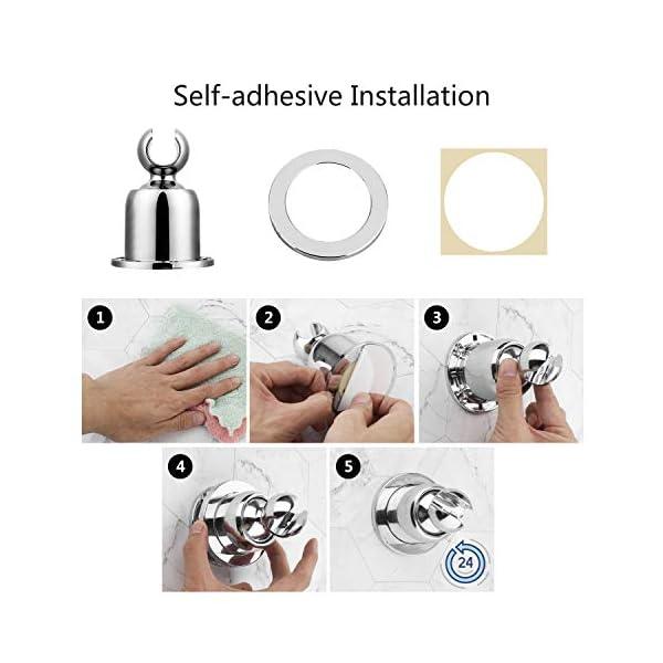 SHYOSUCCE Soporte de Ducha Instala con Adhesivo y Taladro, Soporte Ducha Pared Ajustable Giratorio de 360°, Plástico ABS…