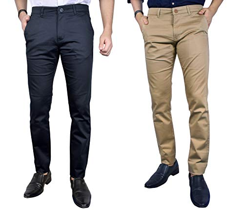 KUNDAN Cotton Slim Fit Men Strachebal Navy Blue & Light Brown Casual Trousers (Pack of 2 Trousers)