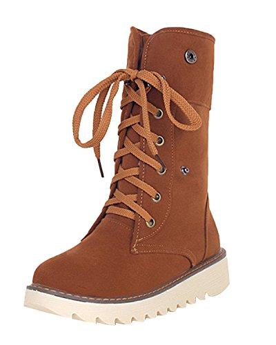 Minetom Damen Stiefeletten Matte Wildleder Stiefel Schnee Winter Fur Boots Winterstiefel Warm Casual...