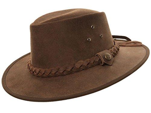 Chapeau style cowboy du bush australien superbe qualité 100 % cuir véritable couleur chocolat ou marron clair, tailles S, M, L et XL - Marron - X-Larg