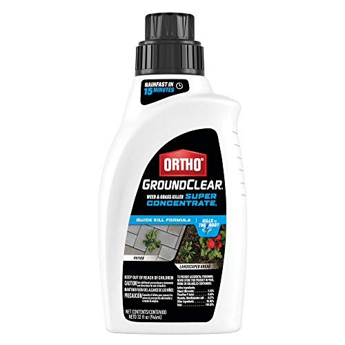 Ortho GroundClear Weed and Grass Killer Super Concentrate1: Treats up to 2,240 sq. ft., Fast Acting, Kills to the Root, 32 oz.